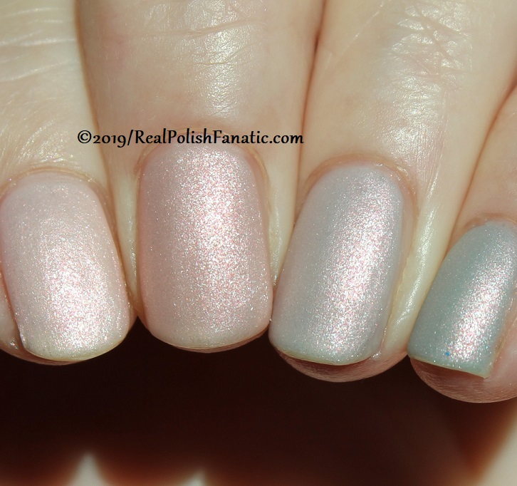 OPI Baby, Take a Vow (index), Bare My Soul (middle), Engage-meant to Be (ring), Ring Bare-er (pinkie) with Throw Me A Kiss (19)