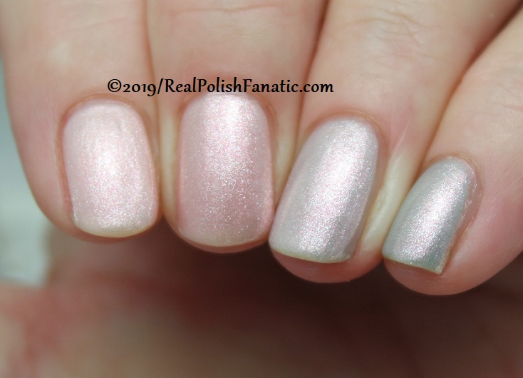 OPI Baby, Take a Vow (index), Bare My Soul (middle), Engage-meant to Be (ring), Ring Bare-er (pinkie) with Throw Me A Kiss (3)