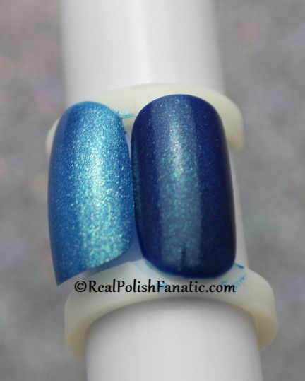 Comparison of OPI Nessie Plays Hide and Sea-k (darker color) and OPI The Sky's My Limit