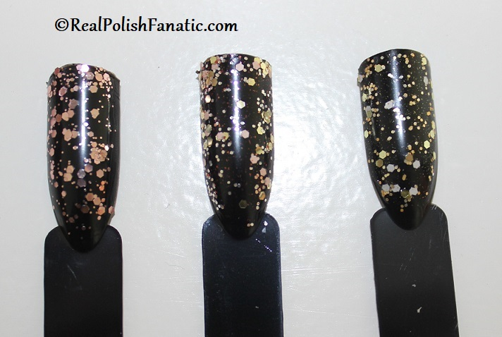 Comparison -- OPI Born to Sparkle vs I Pull the Strings vs Gold Key to the Kingdom (2)