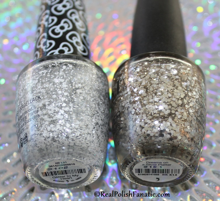 Comparison -- OPI Glitter to My Heart vs Dreams On A Silver Platter (1)