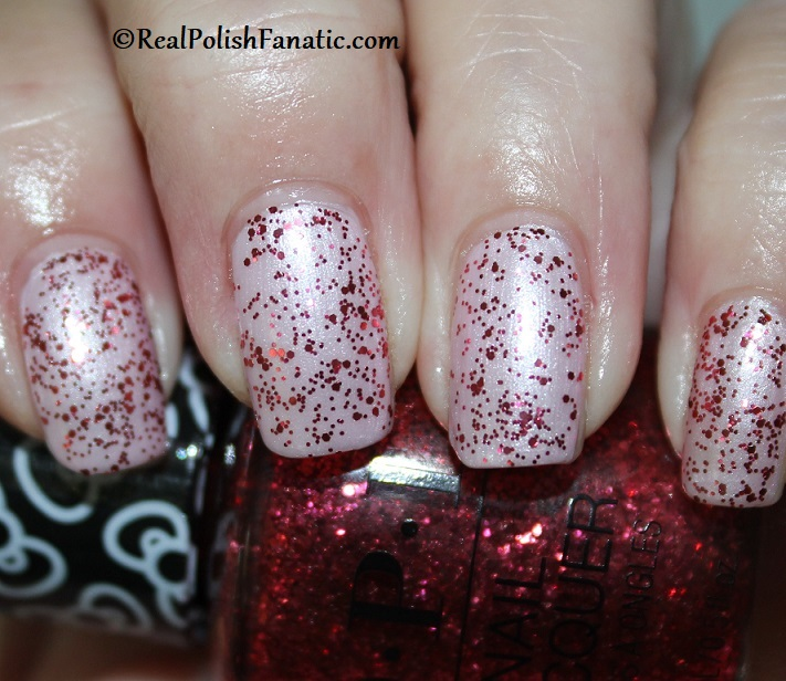 OPI - Dream In Glitter over A Hush of Blush -- OPI Hello Kitty 2019 Holiday Collection - Glitter Trio (3)