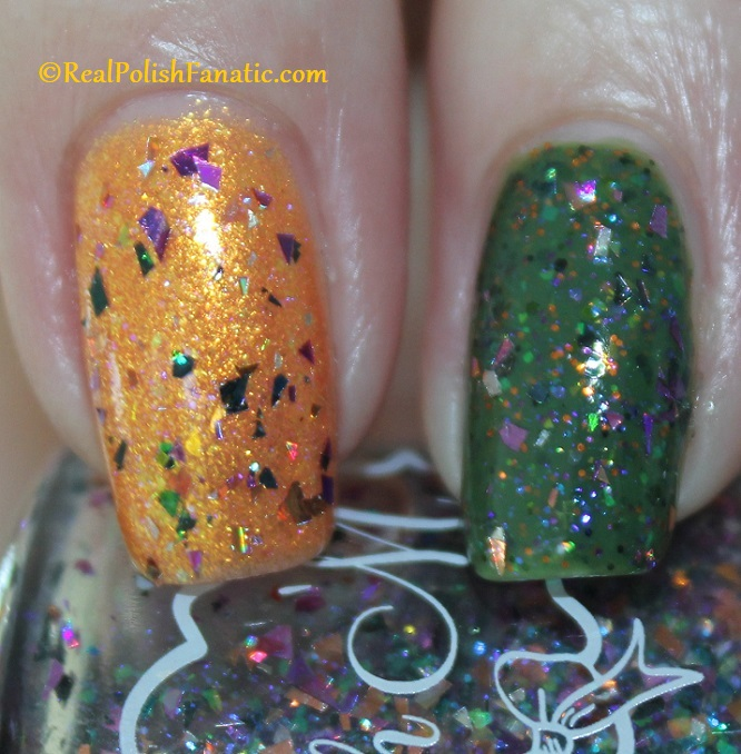 Polish M A Hair Raising Good Time over Polish M Creepin It Real & China Glaze Ernie Your Stripes (2)