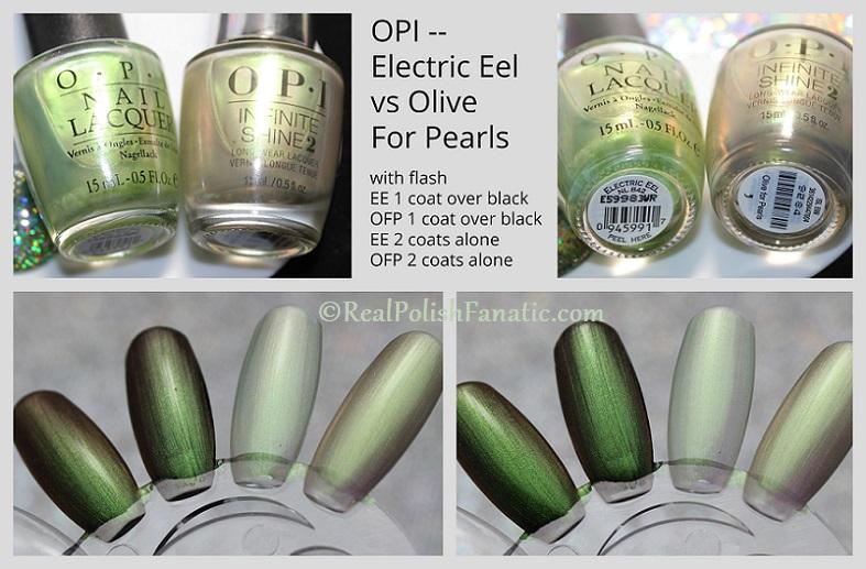 Comparison -- OPI Electric Eel vs OPI Olive For Pearls (2)